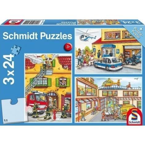 Schmidt - Πυροσβεστική-Αστυνομία Puzzle (3x24st) (56215)