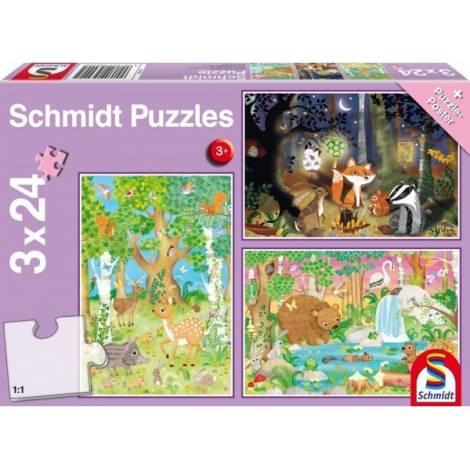 Schmidt - Ζώα του δάσους Puzzle (3x24st) (56220)