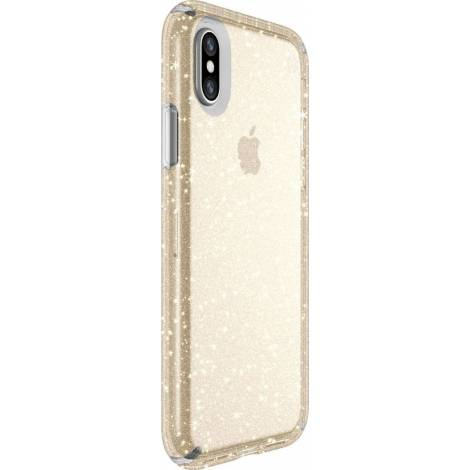 SPECK IPHONE X CASE (103132-5636) PRESIDIO CLEAR + GLITTER (CLEAR WITH GOLD GLITTER)