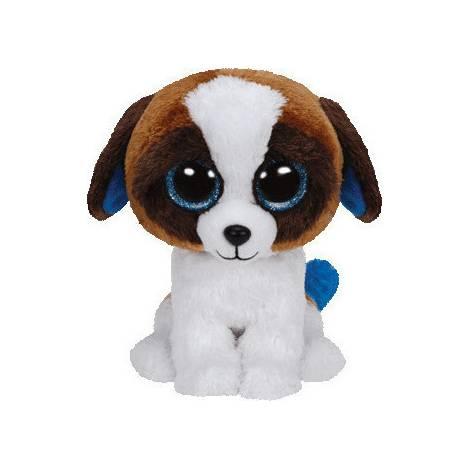 TY BEANIE BOOS - DUKE THE DOG WHITE & BROWN PLUSH TOY (15cm) (1607-36125)