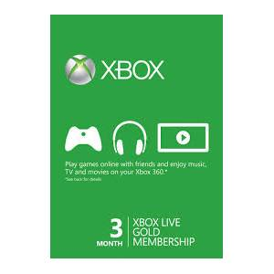 Xbox Live 3 Months Gold Membership Card - Cd key Only (XBOX 360,XBOX ONE)